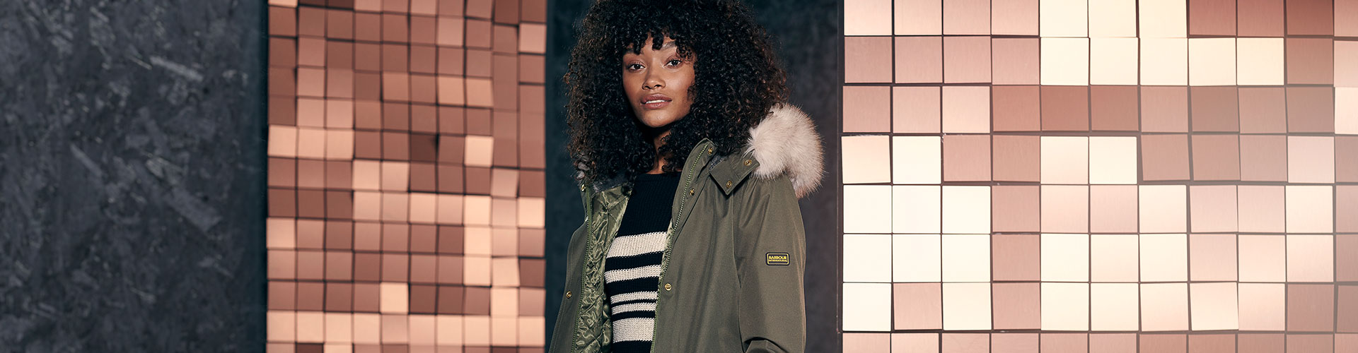 Barbour International Women's Collection styled on a model