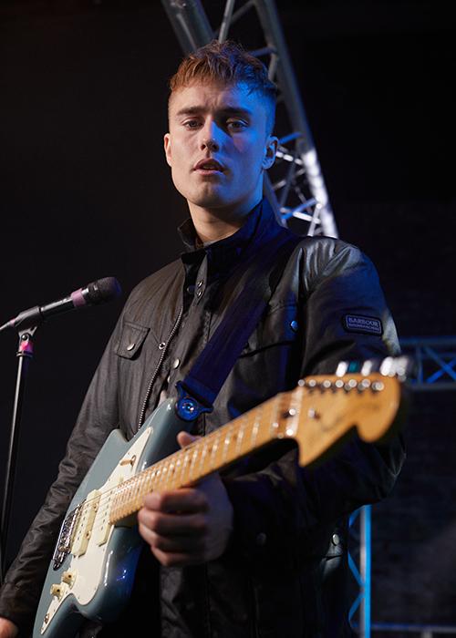Sam Fender in Barbour International Duke Waxed Jacket