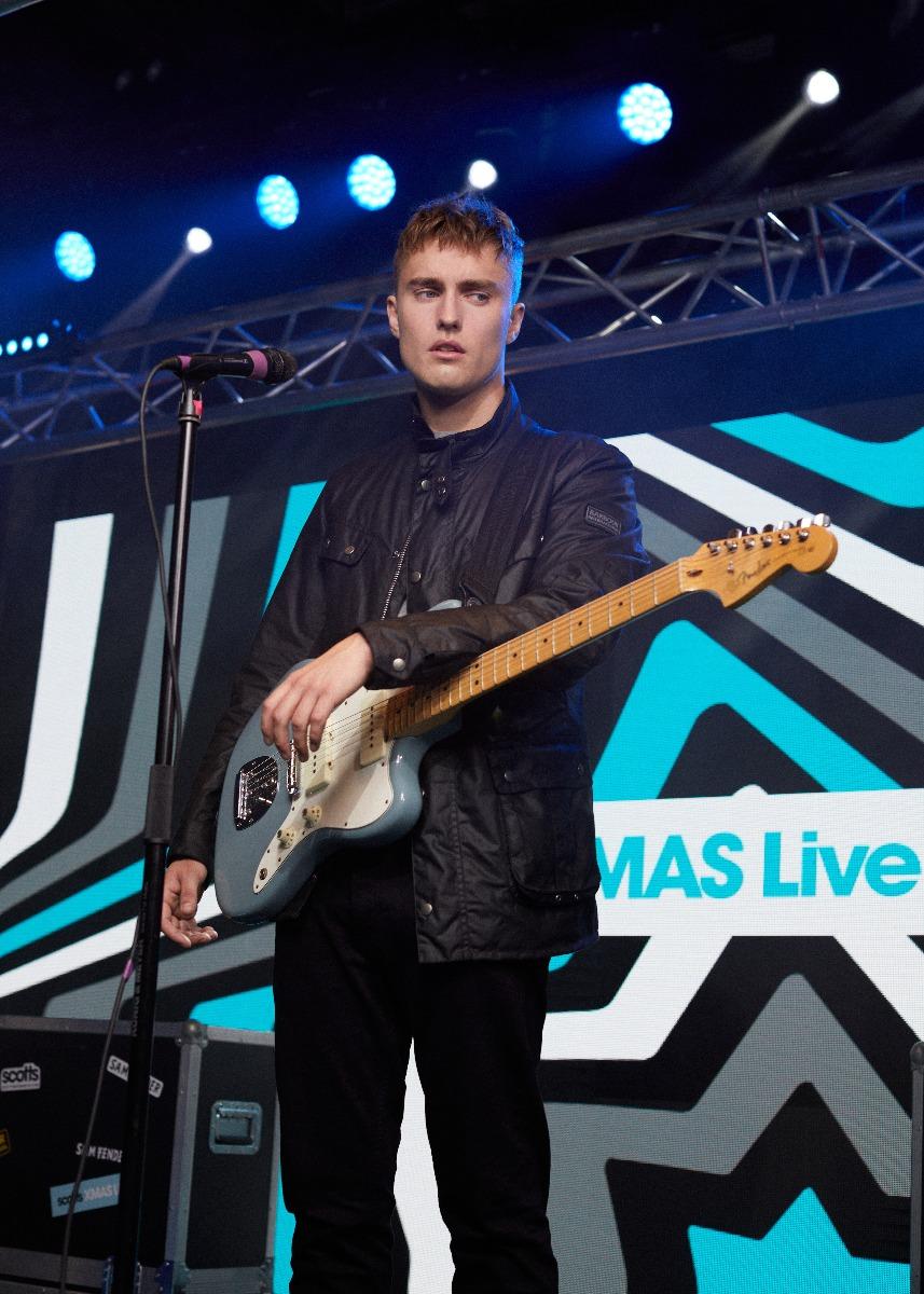 Sam Fender in International Duke Waxed Jacket