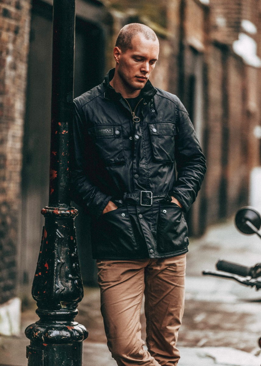 Freddie Dobbs wears the Barbour International AW21 Men's Collection