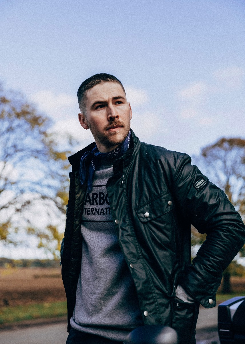 Luke Martin wears the Barbour International AW21 Men's Collection