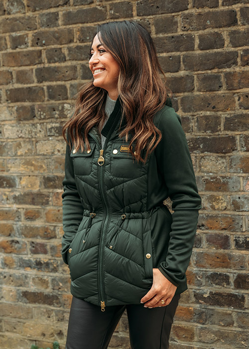 Jules Breach wears the Barbour International AW21 Moto Originals Collection