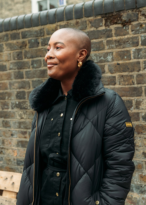 Liv Little wears the Barbour International AW21 Moto Originals Collection