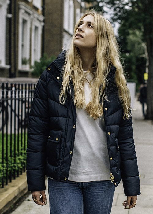 Emma-Louise Boynton wears the Barbour International AW21 Sports Luxe Collection