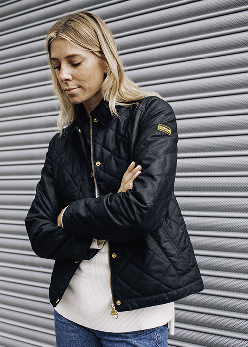 Lindsey Holland wears the Barbour International AW21 Sports Luxe Collection