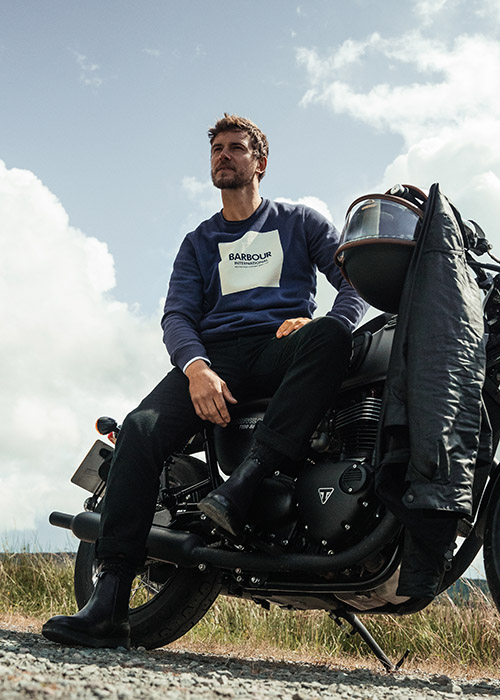 Ethan Roach wears the Barbour International AW21 Tourer Collection