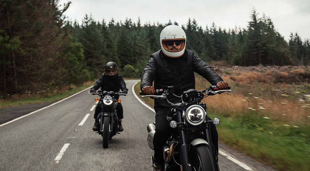 Sam and Ethan wear the Barbour International AW21 Tourer Collection