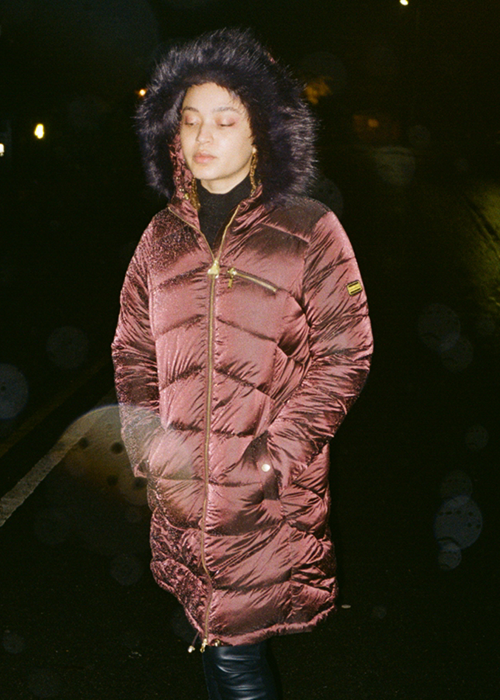 Connie Constance wears Barbour International