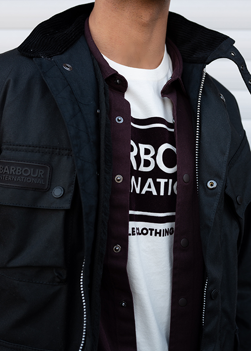 Dillan wears the Barbour International Pre SS21 Menswear collection