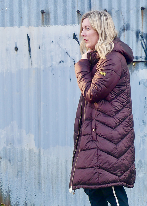 Kate Hiscox wears the Barbour International Pre SS21 Womenswear collection