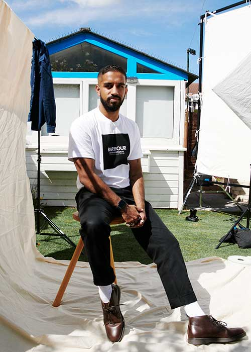 Niran Vinod wears the Barbour International AW21 Preview Men's collection
