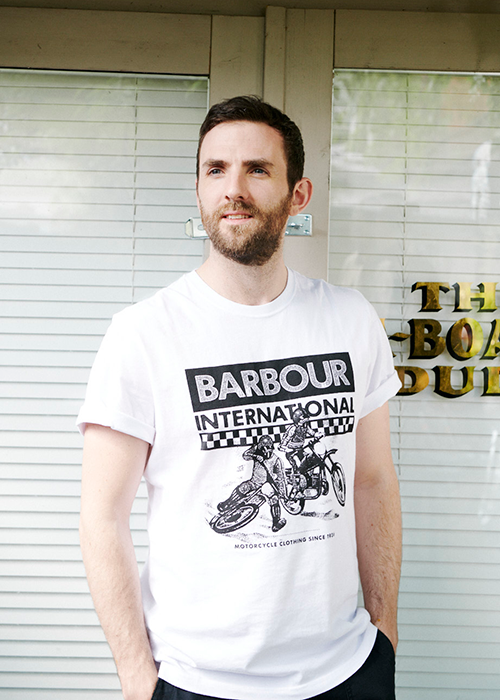 Joshua Harris wears the Barbour International AW21 Preview Men's collection
