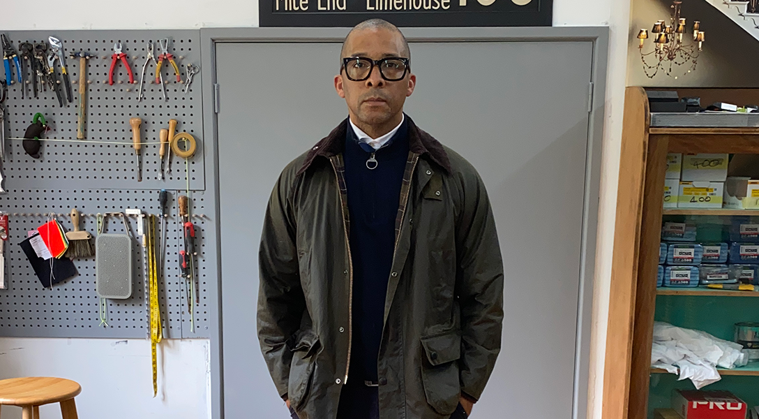 Jay Blades wearing his rewaxed Barbour jacket