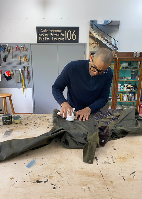 jay blades rewaxing Barbour jacket