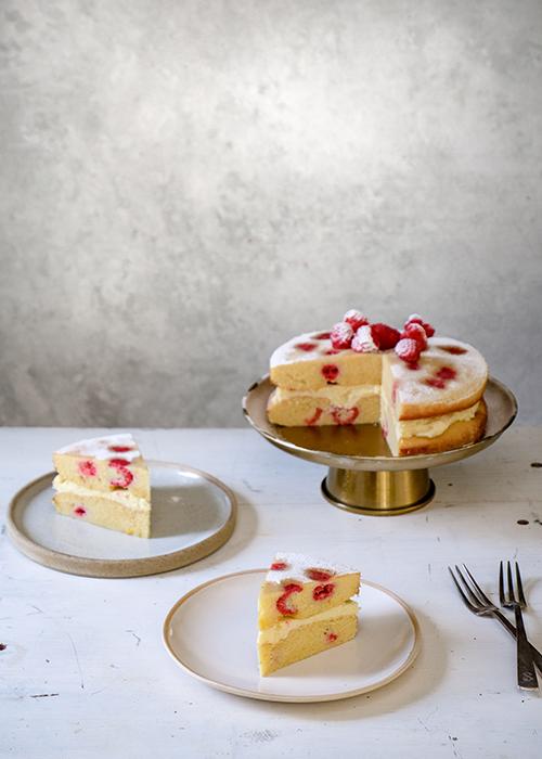 Raspberry, Orange, Thyme and White Chocolate Cake