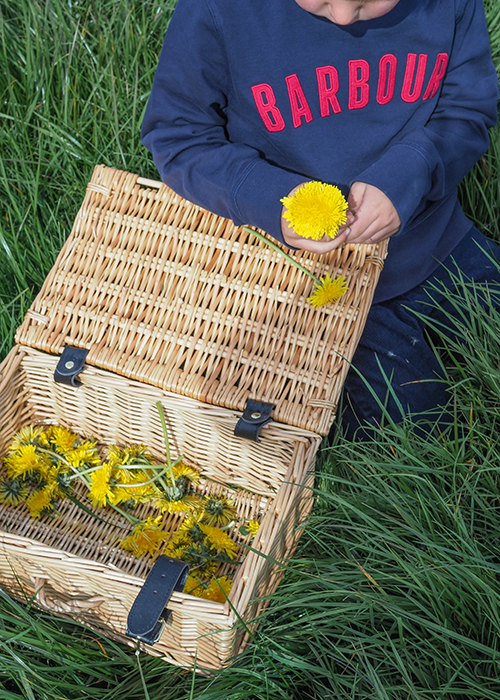 laura ann picking dandelions wearing Barbour ss20