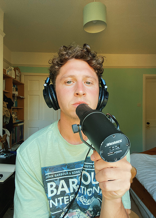 Joel Baker recording wearing Barbour International