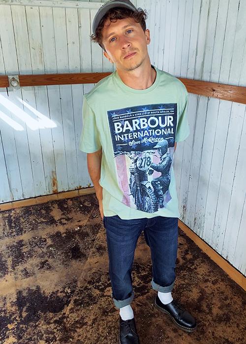 Joel Baker wears Barbour International