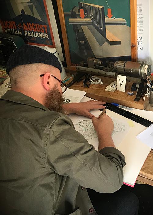 Nige Vallis sketching for Barbour International